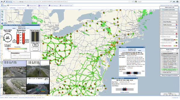 Figure 1: Sample screenshot of the RITIS map showing live video, weather, traffic, and incident information.